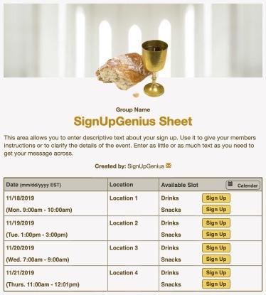 communion Sunday service worship prayer sign up form