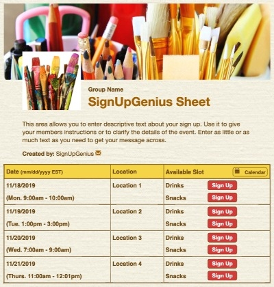 art classroom supplies painting crafts drawing beige sign up form