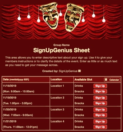 drama play theater mask stage curtain performance crimson theatre sign up form