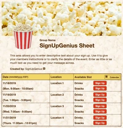 popcorn concessions movies theater yellow sign up form