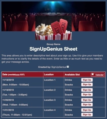 movies film tickets concessions popcorn theater blue sign up form