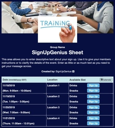 trainings meetings business planning  sign up form