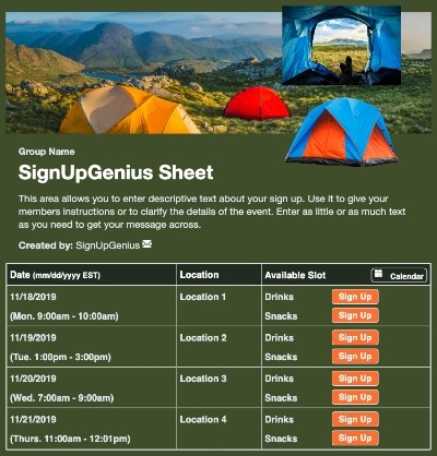 scouts scouting camping campground tent outdoors green sign up form
