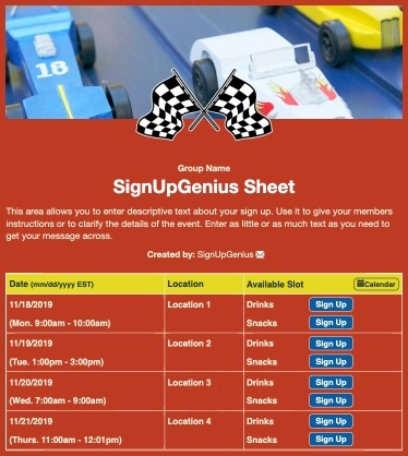 pinewood derby race cars racing flags competition scouts red sign up form
