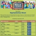 Back to School Volunteers sign up sheet