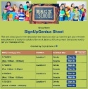 Back to School Volunteers sign up sheet