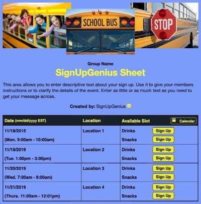 schools class trips volunteers buses schoolbus beige sign up form