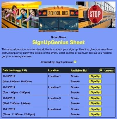 schools class trips volunteers buses schoolbus beige sign up form