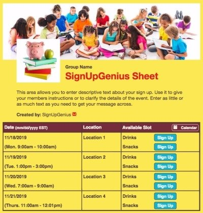 schools childrens reading books learning classroom education reading yellow sign up form