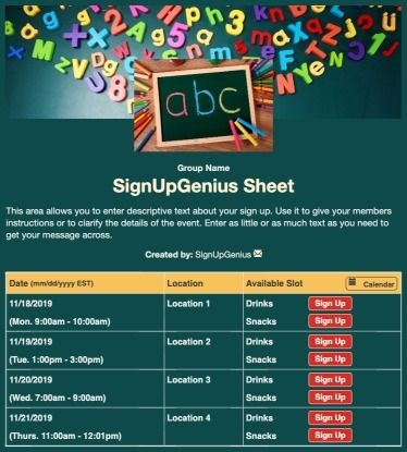 schools learning education teachers children alphabet green ABC's preschool nursery sign up form