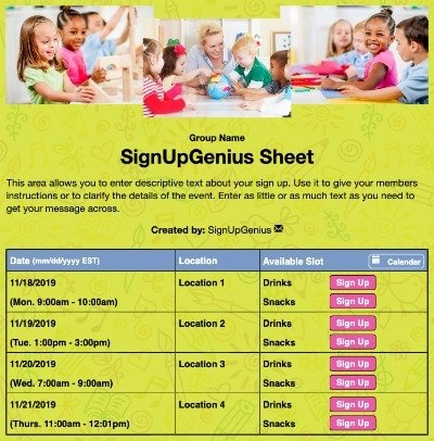 schools childrens learning nursery teachers crafts conferences preschool preK sign up form