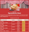 Hot Dog Cookout sign up sheet