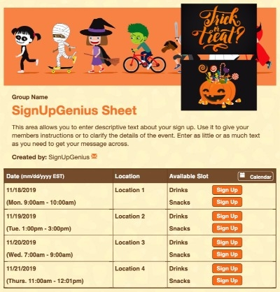 pumpkins halloween trick or treat candy spooky kids sign up form