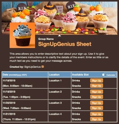 halloween pumpkins candy monster cupcakes party brown sign up form