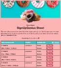 Donut Treats sign up sheet