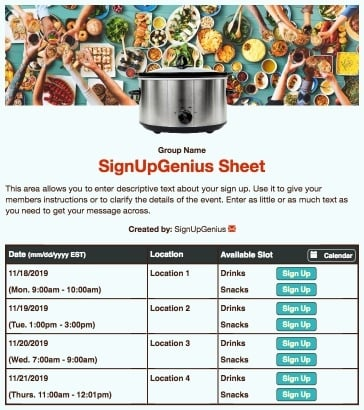 food meals potlucks fiesta party crockpot blue sign up form