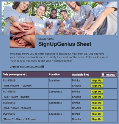 volunteers helpers community service nonprofit blue sign up form
