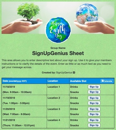 Earth Day Volunteers sign up sheet