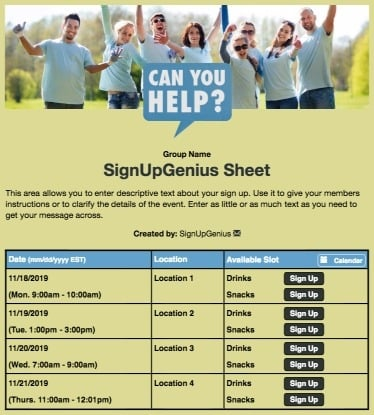 volunteers helpers nonprofit support service community green sign up form