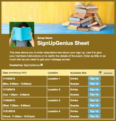 Spring Book Fair sign up sheet