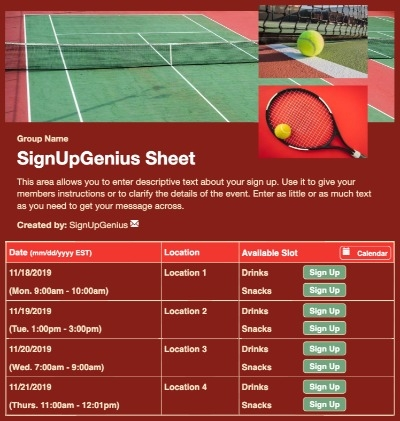 Tennis Court sign up sheet
