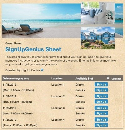 Vacation Rental sign up sheet
