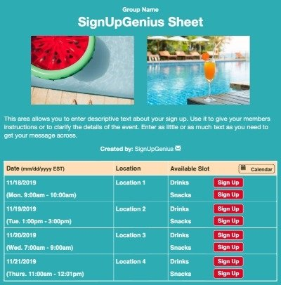 Pool Fun sign up sheet