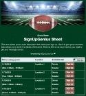 Football Game sign up sheet