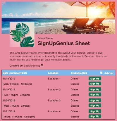 Tropical Sunset sign up sheet
