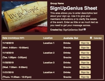 Constitution sign up sheet