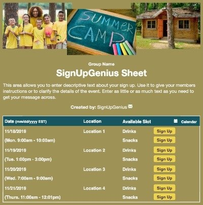 Summer Camp sign up sheet