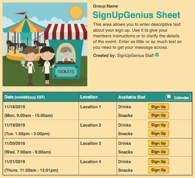Fair Fun sign up sheet