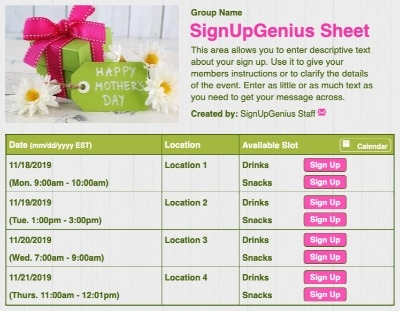 Happy Mother's Day sign up sheet