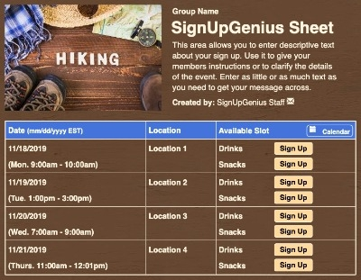 Let's Go Hiking sign up sheet