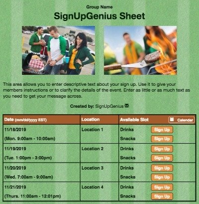 football teams sports rally games tailgating tailgate green sign up form