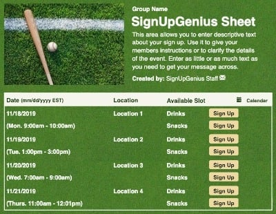 Baseball Bat sign up sheet