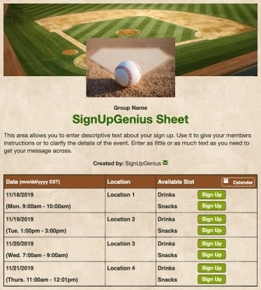 baseball tournaments leagues sports games teams beige sign up form