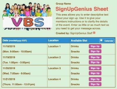 vbs vacation bible school churches summer ministry sign up form
