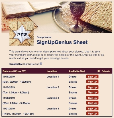 Seder Meal sign up sheet