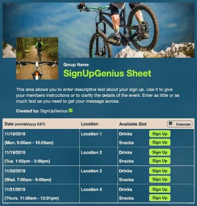 Mountain Biking sign up sheet
