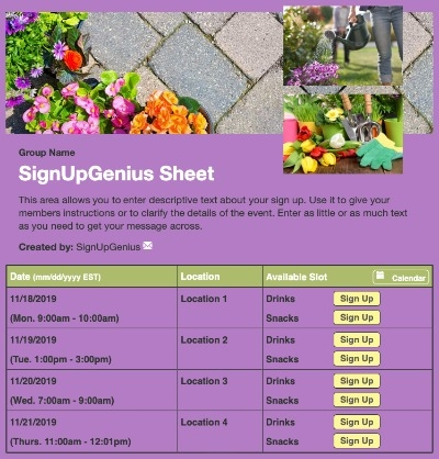 spring gardening landscaping planting purple sign up form