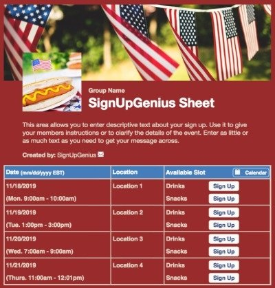 july cookouts independence 4th fourth memorial veterans flag red sign up form