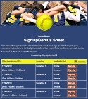 Softball Team sign up sheet