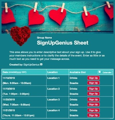 valentines hearts love party blue sign up form