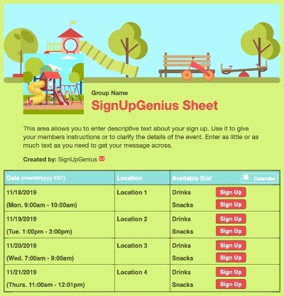 children kids playing playground field playgroups recess park outside green sign up form