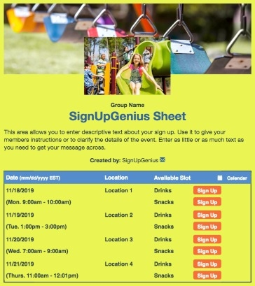 children kids playing playground swings  playgroups recess park outside yellow sign up form