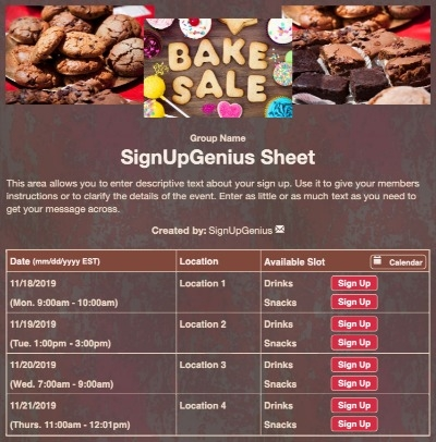 baked sale food fundraiser cookies brownies treats cupcakes brown sign up form