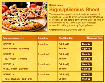 pizzas slices meals dinners birthday party parties yellow teams sign up form