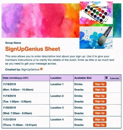 art showcase gallery painting watercolors classes sign up form
