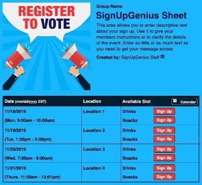 voter registration elections polls sign up form